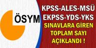 KPSS-ALES-MSÜ-YKS-YDS Sınavlarına Giren Toplam Aday Sayısı