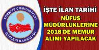 Nüfus Müdürlüklerine 2018'de Yeni Memur Alımı Yapılacak