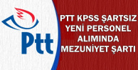 2019/1 PTT KPSS'siz Personel Alımı Mezuniyet Şartı ve Kadroları