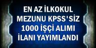 KPSS'siz En Az İlkokul Mezunu 1000 İşçi Alımı İlanı Yayımlandı (TTK Alımı)