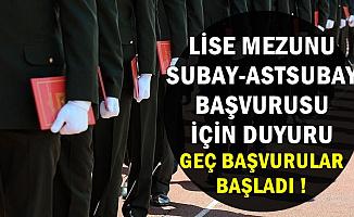 Lise Mezunu Astsubay-Subay Alımı Geç Başvuru Ekranı Açıldı (ÖSYM-MSÜ Başvuru)