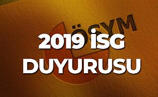 2019 İSG 1. Dönem Sınav Yerleri Açıklandı