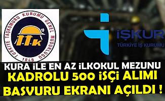 Kura ile Kadrolu 500 İşçi Alımı Başvuru Ekranı Açıldı-İŞKUR'dan En Az İlkokul