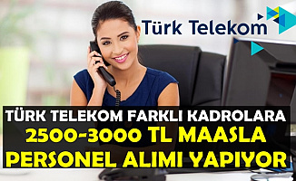 Türk Telekom 12 Kadroya Personel Alımı Yapıyor-2500-3000 TL Maaşla