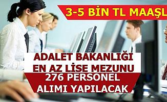 Adalet Bakanlığı 3-5 Bin TL Maaşla Personel Alımı