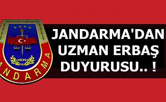 Jandarma'dan Uzman Erbaş Duyurusu