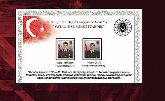 Milli Savunma Bakanlığı Şehitlerimiz için Taziye Mesajı Yayımlandı