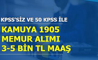 5-6-7 Kasım 2019 Kamu İlanları: KPSS'siz ve 50 KPSS ile 1905 Memur Alımı