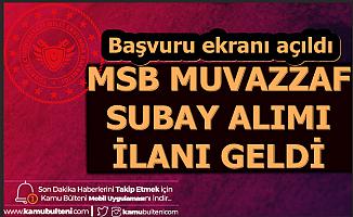 MSB Muvazzaf Subay Alımı Başvurusu Başladı 2020