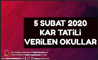 5 Şubat İlk ve Orta Dereceli Okullara Kar Tatili Verilen İller: Van - Bingöl - Ağrı - Erzincan - Sivas - Diyarbakır - Şırnak - Siirt