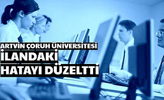 Artvin Çoruh Üniversitesi, İlandaki KPSS Hatasını Düzeltti