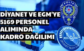 EGM ve Diyanet'e 5169 Personel Alımı Kadro Dağılımı