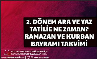 2. Dönem Ara ve Yaz Tatili , Ramazan Orucu, Bayramı ve Kurban Bayramı Takvimi