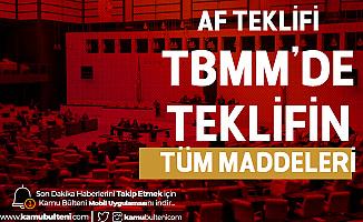Af Teklifi Mecliste! İnfaz Yasasının Tüm Maddeleri