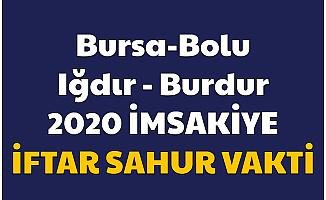 Bursa Bolu Iğdır ve Burdur 2020 Resimli İmsakiyesi
