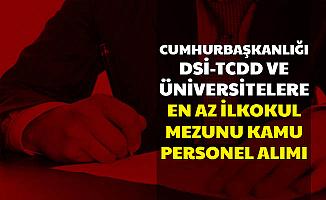 Cumhurbaşkanlığı-TCDD-Üniversiteler ve DSİ En Az İlkokul Mezunu Personel Alımı Yapıyor