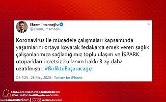 İstanbul'da Sağlık Çalışanlarına Toplu Taşıma ve İSPARK 3 Ay Daha Ücretsiz Olacak