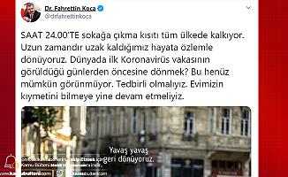 Sağlık Bakanı Fahrettin Koca'dan Sokağa Çıkma Kısıtlamasıyla İlgili Açıklama: Yavaş Yavaş Geri Dönüyoruz Ama...