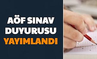 Anadolu Üniversitesi'nden AÖF Sınav Duyurusu 16 Aralık 2020
