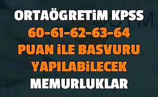Lise KPSS 60, 61, 62, 63 ve 64 Puan ile Memur Alımı Yapan Kurumlar