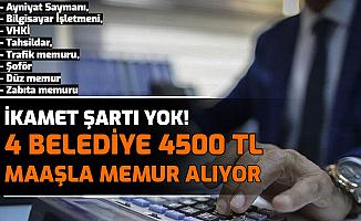 İkamet Şartı Yok: 4 Belediyeye 4500 TL Maaşla Kamu Personeli Alımı Yapılacak