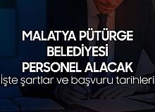 Malatya Pütürge Belediyesi'ne Bilgisayar İşletmeni, VHKİ, Ayninat Saymanı ve Tahsildar Alınacak