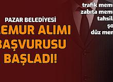 Pazar Belediyesi İkamet Şartsız Memur Alımı Başladı: (Trafik memuru, zabıta memuru, tahsildar, şoför, memur)
