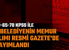 16 Mart Resmi Gazete'de Kamu İlanları: 60-65 KPSS ile 4 Belediyeye Memur Alımı (Çankaya-Şişli-Edirne-Tanoba)