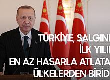 """Cumhurbaşkanı Erdoğan: """"Türkiye, uyguladığı ekonomik ve sosyal politikalarla salgının ilk yılını en az hasarla atlatan nadir ülkelerden biridir"""""""