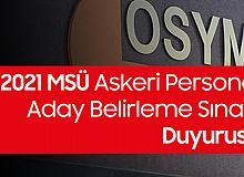 ÖSYM'den Milli Savunma Üniversitesi Askeri Öğrenci Aday Belirleme Sınavı Duyurusu (Sınav Günü Açık Tutulacak İl/İlçe Nüfus Müdürlükleri)
