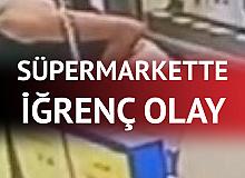 Markette İğrenç Olay! Alışveriş Yapan Kadını Takip Edip, Gizlice Çekti...