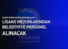 Tekirdağ Büyükşehir Belediyesi'ne Lisans Mezunu Zabıta Memuru Alımı Başvuruları Sürüyor