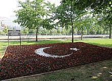Kağıthane'de Türk bayrağı begonyalarla süslendi