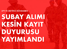 Kara Kuvvetleri Komutanlığı 379 ve 380'inci Dönem Yedek Subaylardan Muvazzaf Subay Alımı Kesin Kayıt Duyurusu Yayımlandı