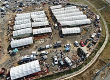 Sultangazi kurban pazarında hareketlilik havadan görüntülendi