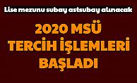 2020 MSÜ Tercihleri Başladı (Lise Mezunu Subay Astsubay Alımı Personeltemin Tercih Ekranı)